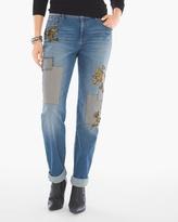 Chico's Patchwork Slim Boyfriend Ankle Jeans