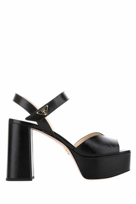 Prada Logo Plaque Platform Sandals