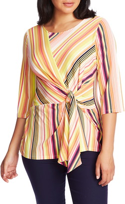 Chaus Stripe Knot Front Stretch Knit Top