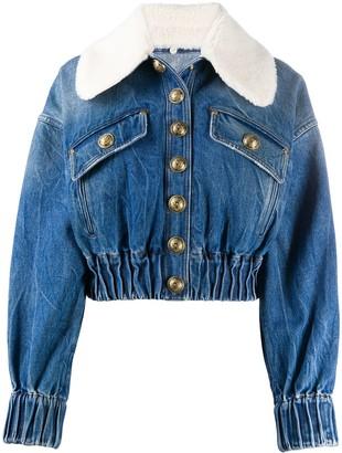 Balmain Shearling Collar Denim Jacket