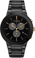 Citizen Men's Chronograph Axiom Black Ion-Plated Stainless Steel Bracelet Watch 43mm AT2248-59E, A Macy's Exclusive