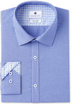 Ryan Seacrest Distinction Men's Slim-Fit Stretch Non-Iron Navy Diagonal Dobby Dress Shirt, Created for Macy's