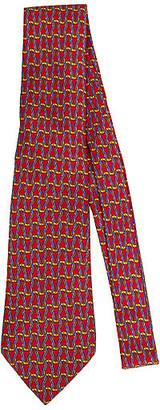 One Kings Lane Vintage Hermes Woven Red Rope Silk Tie - Vintage Lux - red/blue/gold