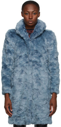 Misbhv Blue Faux-Fur Coat