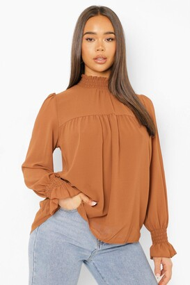 boohoo Shirred Neck Cuff Smock Top