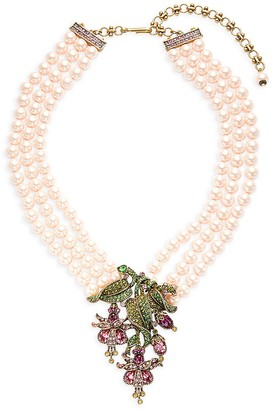 Heidi Daus Dripping Floral Three-Strand Glass Pearl Crystal Pendant Necklace