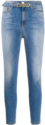 Pinko Mid Rise Belted Skinny Jeans