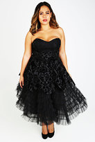Yours Clothing HELL BUNNY Black Jacquard Print Layered Net Dress