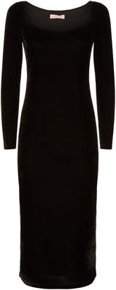 Traffic People Body Con Velvet Midi Dress In Black