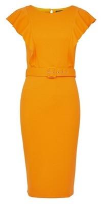 Dorothy Perkins Womens **Yellow Self Belt Pencil Dress