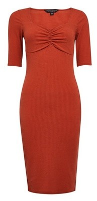 Dorothy Perkins Womens Rust Sweetheart Ribbed Bodycon Dress