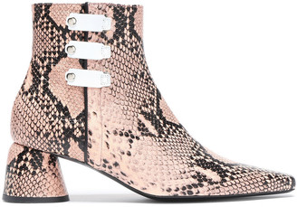 Ellery Snake-effect Leather Ankle Boots