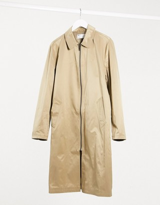 ASOS DESIGN oversized trench coat in stone with zip