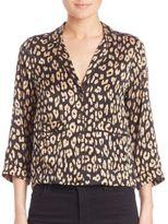 Equipment Kate Moss for Lake Leopard-Print Silk Pajama Top