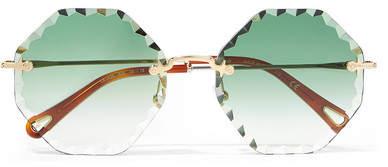 Chloé Rosie Octagon-frame Gold-tone Sunglasses - Green
