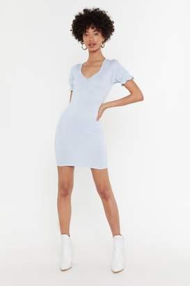 Nasty Gal Womens Ging 'Em On Puff Sleeve Mini Dress - Blue - 10, Blue