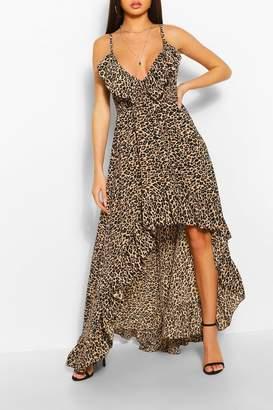 boohoo Leopard Strappy Ruffle Asymmetric Hem Maxi Dress