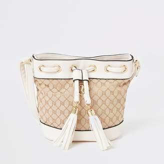 River Island Girls cream RI jacquard duffle cross body bag