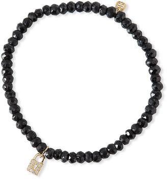 Sydney Evan 14k Diamond Keyhole Lock & Black Spinel Bracelet
