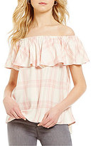 Sanctuary Misha Printed Off-the-Shoulder Flounce Blouse