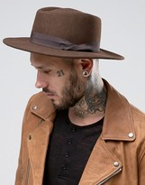 Asos Pork Pie Hat In Chocolate With Twisted Band