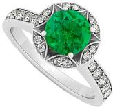 LoveBrightJewelry May Created Emerald and Cubic Zirconia April Birthstone Engagement Ring