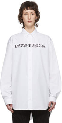 Vetements White Gothic Logo Shirt