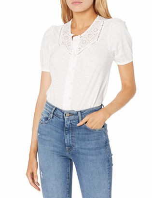 Lucky Brand Women's Short Sleeve Eyelet Yoke Button Down Knit Blouse