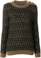 Balmain textured crew neck sweater