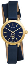 Tory Burch Collins Navy Double-Wrap Leather Two-Hand Watch