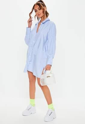 Missguided Blue Stripe Drop Back Oversized Shirt Dress