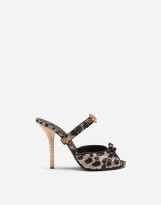 Dolce & Gabbana Mules In Silk Jacquard With Leopard Print And Bejeweled Buckle