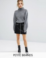 New Look Petite Zip Through A-Line Skirt