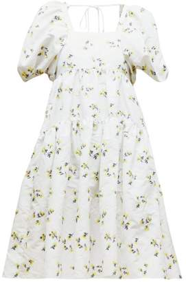 Cecilie Bahnsen - Ronja Tiered Floral Fil-coupe Mini Dress - Womens - Yellow White