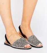 Park Lane Wide Fit Sling Flat Leopard Leather Sandal
