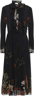 RED Valentino Pussy-bow Floral-print Silk-blend Voile Midi Dress
