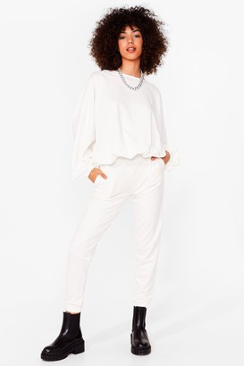 Nasty Gal Womens Come Together Sweatshirt and Joggers Lounge Set - Cream - 6
