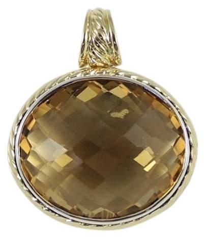 David Yurman 925 Sterling Silver 18K Yellow Gold Oval Citrine Enhancer