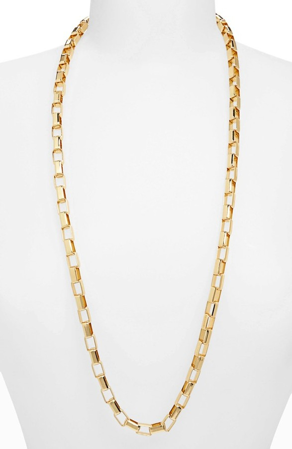 Topshop 'Flat Rectangle' Chain Necklace