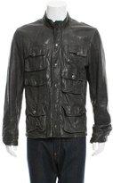 Dolce & Gabbana Leather Mock Neck Jacket