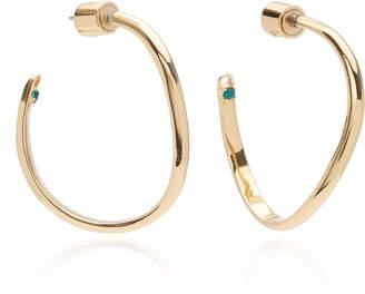 Calypso DEMARSON Emerald Crystal Curved Hoop Earrings
