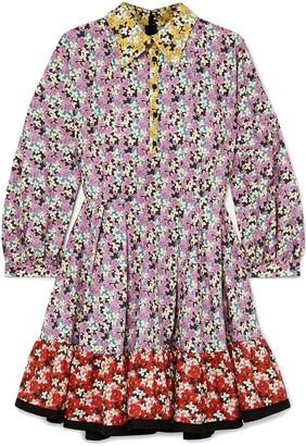 Valentino Ruffled Floral-print Cotton-poplin Mini Dress