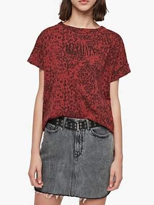 AllSaints Imogen Leopard Print Slogan Cotton T-Shirt