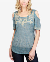 Lucky Brand Embroidered Cold-Shoulder Top