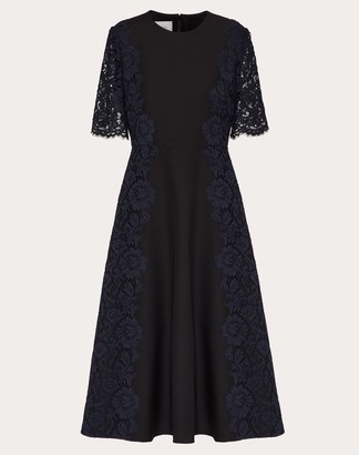 Valentino Crepe Couture And Heavy Lace Dress Women Black/navy Viscose 43%, Cotton 34% 42