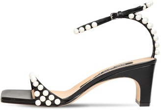 Sergio Rossi 60mm Beads & Leather Sandals