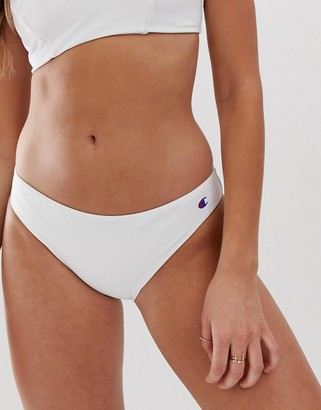 Champion logo bikini bottom in white