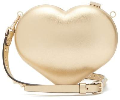 Valentino Carry Secrets Metallic Leather Heart Clutch - Womens - Gold