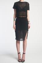 Donna Mizani Orbit Midi Slit Skirt In Black