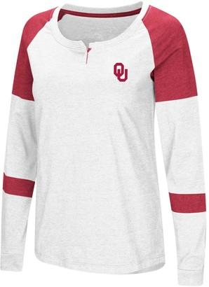Colosseum Women's White Oklahoma Sooners Dorothy Henley Raglan Long Sleeve T-Shirt